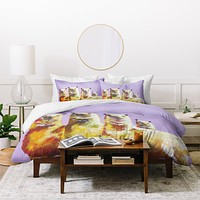 Clara Nilles Lemon Llamas On Lavender Duvet Cover