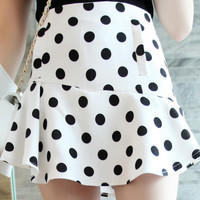 White Polka Dot Culottes Skirt