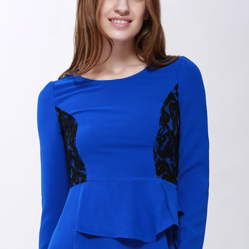 Blue Contrast Lace Accent Long Sleeve Ruffled Blouse