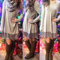 LIGHT UP THE NIGHT SEQUIN TUNIC IN GREY