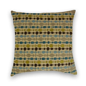 Chenille Decorative Pillow Cover--Geometric Stripe--20 x 20--Throw Pillow--Accent Pillow--Teal, Blue, Brown, Grey, Green