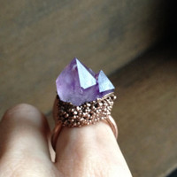 Double Amethyst Point Ring - Raw Stone - February Birthstone - Electroformed Ring - Unique Ring - Copper - Semiprecious Stone - Size 6.5