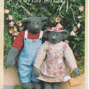 Clifford and Thelma 13 and 15 inch fully jointed bear pattern with overalls and dress with apron by Country in the City UNCUT