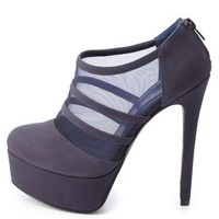 Qupid Strappy Mesh Platform Booties by Charlotte Russe - Navy
