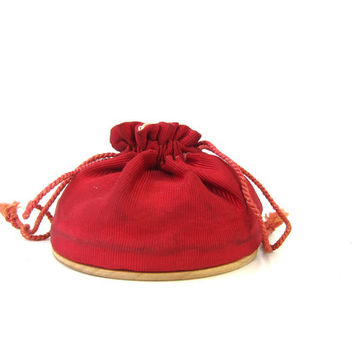 20% OFF SALE 1950s Vintage Rex Fifth Avenue Vanity Kit Bag Compact Powder with Mirror Drawstring Cinch Pounch in Red Louanne's Estate Sale
