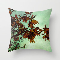 Japanese Maple Throw Pillow by Ally Coxon