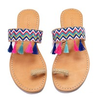 Fez Tassel Braided Toe Ring Sandals  - Rainbow Wave Print