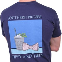 Tipsy and Tied Tee in Navy by Southern Proper - FINAL SALE