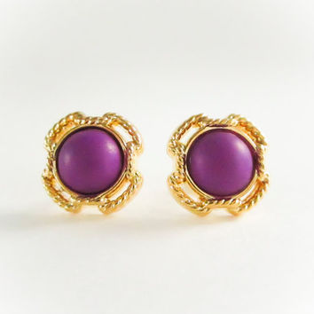 Vintage Gold Frame Stud Earrings, Puple pearl earrings, vintage button earrings, bridesmaid earrings, cross studs,spring jewelry