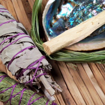 SMUDGE SAMPLER KIT Smudging Herbs White Sage Cedar Sweetgrass Palo Santo & Abalone Shell