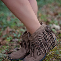 What The Fringe Booties: Taupe