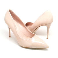 Nude Shiny Pointed Heels