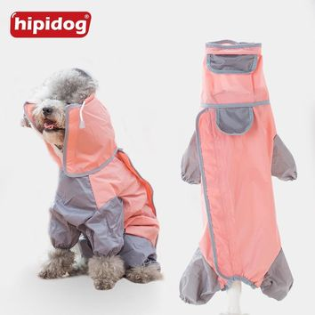 Hipidog Pet Dog Raincoat Puppy Poodle Waterproof Hoodies Slicker Jumpsuit Rain Coat For Small Dogs Yorkshire Overall Clothes