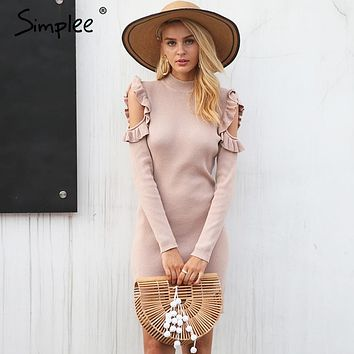 Cold Shoulder Ruffle Knitted Dress Women Elegant Long Sleeve Winter Body Con Dress Autumn Sexy Slim Party Dress