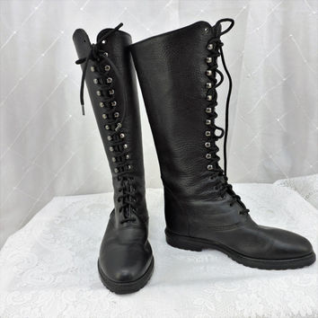 65cdbc866e7 Vintage knee high lace up combat boots size 6 black leather tall