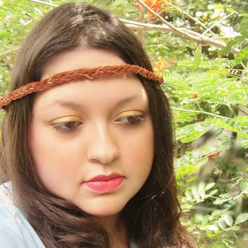 Suede leather braid headband boho bohemian dark mocha brown hairband music festival forehead gypsy headgear tribal