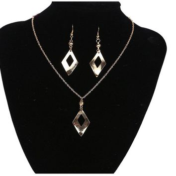 Leave Shaped Long Drop Dangle Earring and Necklace Set