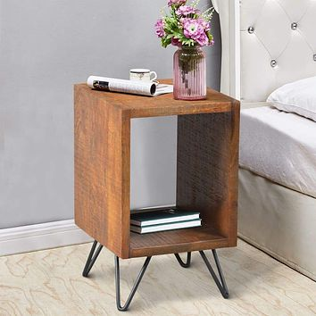 22 Inch Textured Cube Shape Wooden Nightstand with Angular Legs, Brown and Black By The Urban Port
