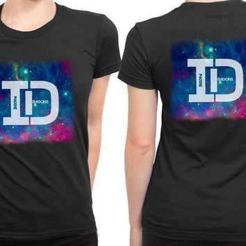 CREYH9S Imagine Dragons Id Space Background 2 Sided Womens T Shirt