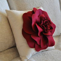 MOTHERS DAY SALE Rose Applique Ruby Red Rose on Cream Pillow 14x14