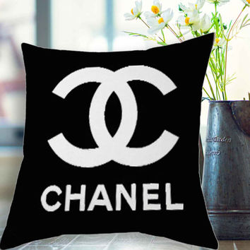 "Chanel logo black pillow case # 18"" x 18"" , 16"" x 24"" , 20"" x 30"""