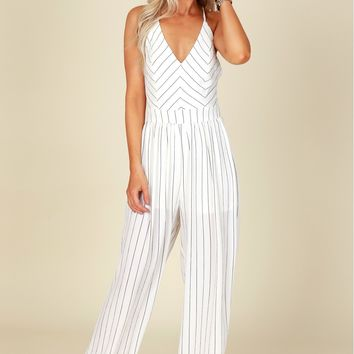 Thin Striped Jumpsuit Off White