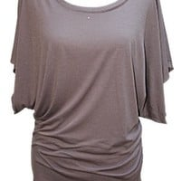 YogaColors Crystal Boatneck Dolman Sleeve Blouse Jersey Tee Up to Plus Size (Small, Light Heather)