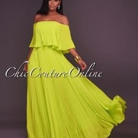 Saskia Lime Green Pleated LUXE Maxi Dress