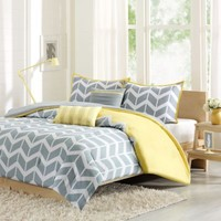 Nadia Reversible Comforter Set in Yellow
