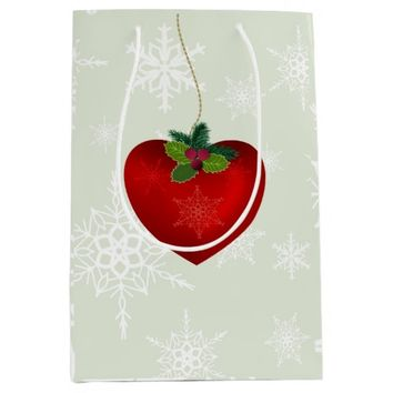 Love Chrismtas hearth shape and snowflake Medium Gift Bag