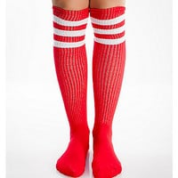 Red And White Athletic Stripe Knee High Socks - Spencer's