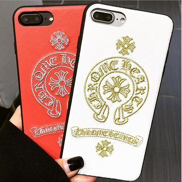 Chrome Hearts Popular Women Men Embroidery PU Leather iPhone Phone Case 6/7/8Plus iPhone X Phone Shell