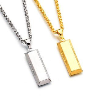 Gold/Silver bar Gold Plated Silver Metal Bar Necklace & Pendant
