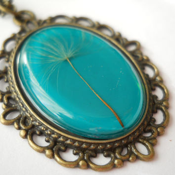 Dandelion pendant, green resin jewelry, antique brass necklace, make a wish jewelry, dandelion necklace, dandelion in resin, dandelion seeds