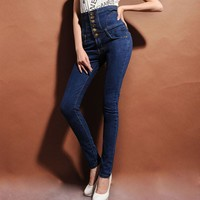 Women's ultra-high waist jeans female skinny pants elastic pencil pants plus large size buttons high waist jeans