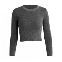 Round Neck Long Sleeve Elastic Slim Fit Knitted Sweater in Grey