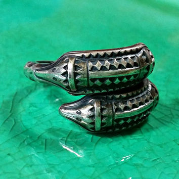 "Vintage Viking Ring David Andersen D-A Norway Sterling Silver Signed ""Copy-Original Year 300 A.D."" Bypass Ring Snakes Heads Symbolic Meaning"