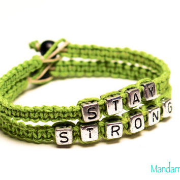 Stay Strong Bracelet Set, Lime Green Hemp Jewelry, Mental Health, Awareness, Recovery, Gifts for Her, Fitness, Healthy Living