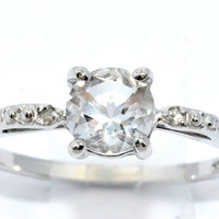 1 Carat White Sapphire Diamond Ring .925 Sterling Silver Rhodium Finish White Gold Quality