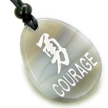 Kanji Symbol Courage and Good Luck Amulet Word Stone Necklace