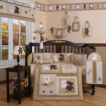Baby Bedding 13-Piece Crib Bedding Sets with Bumper Included Baby Bundle,Teddy Bears