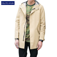 2017 New Arrival Spring Autumn solid Fashion Trench Men High Quality hooded Thin Jacket Men Outerwear Men's Trench Coat men