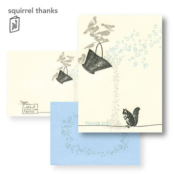 Squirrels and Birds Thank You Card