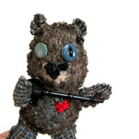 Teddy bear, plushie, scruffy bear, red heart, key to heart, anniversary, couples gift, valentines day, little artist bear, plaid and knit