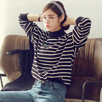 Tree Patched Striped Knit Sweater