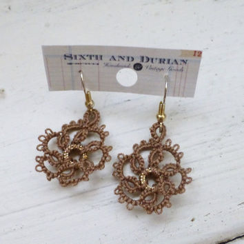 Tatted lace earrings, brown earrings, women's accessories, women's jewelry, handmade earrings, pierced ears, women's gift idea