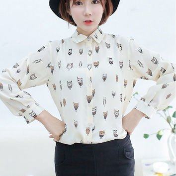 Women Shirts Blouses Girl Trendy Collar Owl Print Chiffon Long Sleeve Blouse Top Shirt Kadin Gomlek#2046 SM6