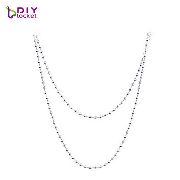 10pcs ! high quality 4 color 316L stainless steel ball beads chain for men women necklace chain  jewelry coin pendant