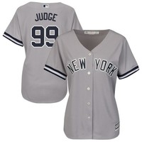 Women's New York Yankees Aaron Judge Majestic Road Gray Cool Base Replica Player Jersey
