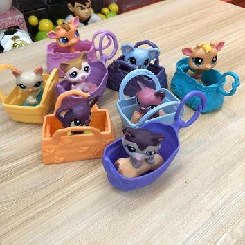 8pcs/set  Original CUTE DOLL model lps Toy bag Little Pet Shop Mini Toy Animal Cat patrulla canina dog toys for children